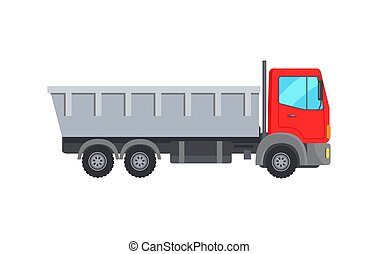 Garbage Collector Truck with Red Cabin Vector Icon