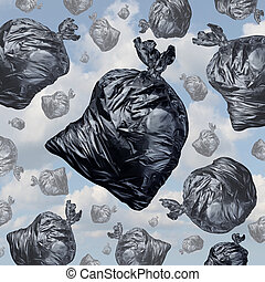 Garbage concept as black trash bags with an unpleasant smell...