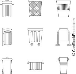 Garbage container icon set, outline style