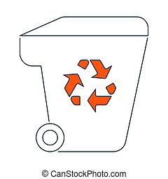 Garbage Container With Recycle Sign Icon