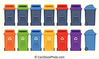 Garbage containers and types of trash. Recycle, recycled paper, food, waste, e-waste, organic, paper, metal. Vector isolated illustration