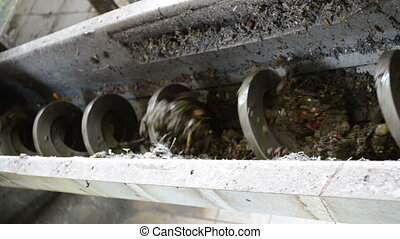 garbage crush equipment - Closeup of water treatment garbage...