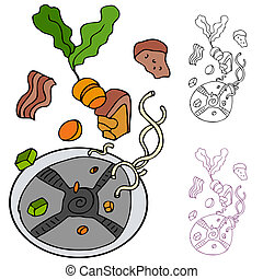 Garbage Disposal - An image of a food being dropped into a...