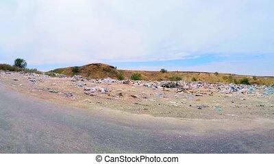 Garbage Dump Along Road In Ukraine - The shot was captured...