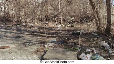 Garbage dump in a residential area