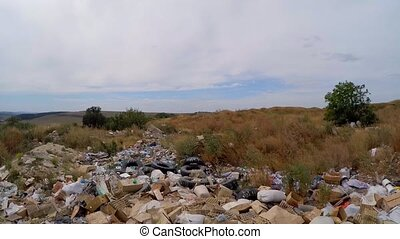 garbage dump in overgrown bushes. Slow motion. - the camera...