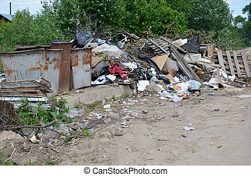 Garbage dump in rural areas - The garbage dump in a rural ...