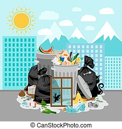 Garbage dump on urban landscape background - Garbage dump or...