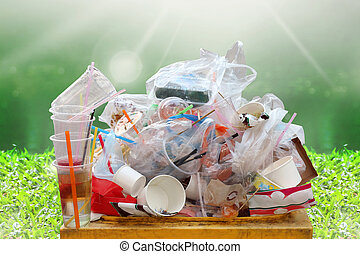 garbage, dump, plastic waste, pile of garbage plastic waste bottle and bag foam tray many on bin yellow, plastic waste pollution, lots garbage on nature river and sunshine background