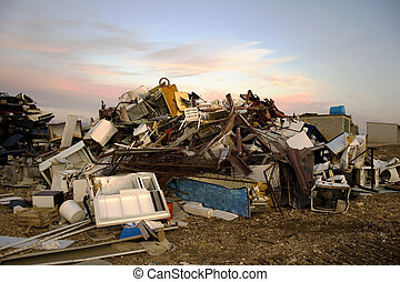 Garbage dump  - Garbage dump, cloudy sky on the background
