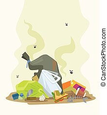 Garbage dump. Vector flat cartoon illustration
