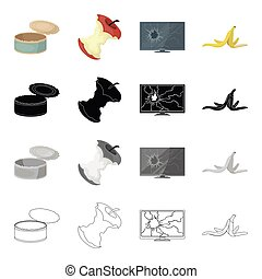 Garbage, ecology, hygiene and other web icon in cartoon style. Peel, banana, waste, icons in set collection.