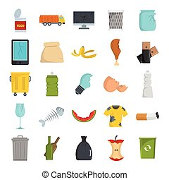 Garbage flat icons set vector illustration for design and web isolated on white