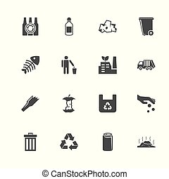 Garbage - Flat Vector Icons