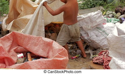 Garbage gatherers in slums