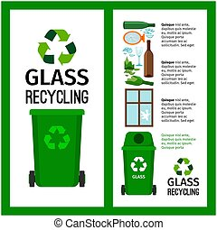 Garbage green container info with glass trash elements, vector illustration