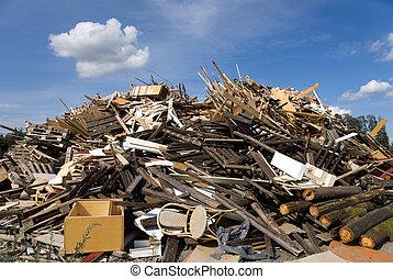 garbage heap, mostly wood