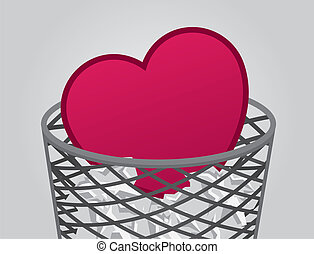 Heart inside garbage can with trash