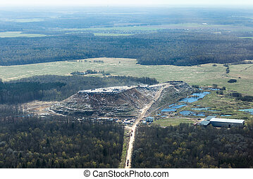 Garbage hill - Aerial view of a gigantic hill of garbage ...