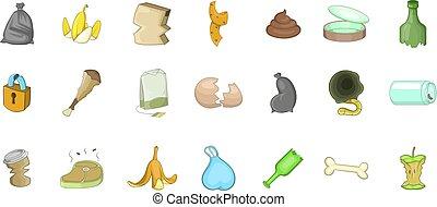 Garbage icon set, cartoon style - Garbage icon set. Cartoon...