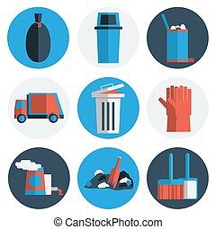 Garbage icons flat set