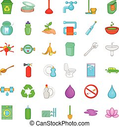 Garbage icons set, cartoon style