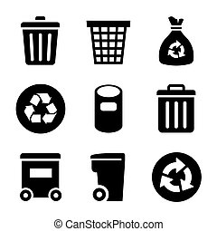 Garbage container and basket Icons set. Vector illustration.
