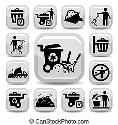 garbage icons set - Vector Garbage And Cleaning Icons Set...