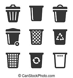 Garbage Icons Set on White Background. Vector