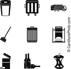 Garbage icons set, simple style