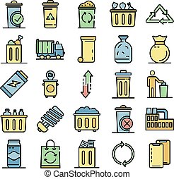 Garbage icons vector flat