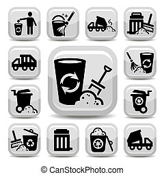 garbage icons - Vector Garbage And Cleaning Icons Set...