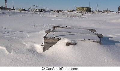 Garbage in abandoned ghost town of Gudym Chukotka of far...