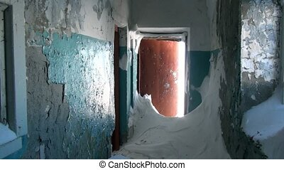 Garbage in abandoned house ghost town of Gudym Chukotka of...