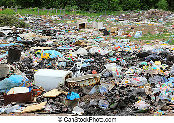 garbage in landfill - environment pollution