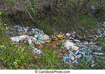 Garbage in the forest closeup