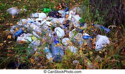 garbage in the forest in autumn. environmental pollution