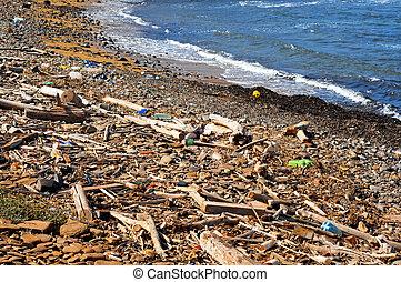 garbage in the seashore