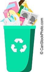 Garbage in trash bin. Household waste. Paper, plastic, glass and other rubbish. Isolated vector clip art