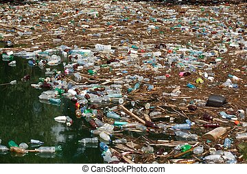 garbage in water - heavy pollution of floating plastic ...