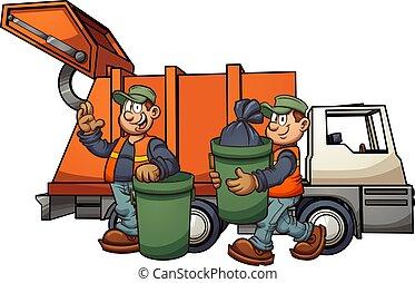 Garbage men - Cartoon garbage men with truck, picking up...