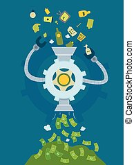 Garbage Money Machine Illustration