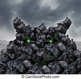 Garbage Monster - Garbage monster at a dump as mountains of...
