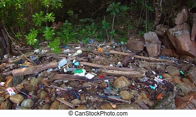 Garbage on the shore of tropical sea. Environmental problem ...