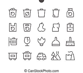 Garbage Outlined Pixel Perfect Well-crafted Vector Thin Line...