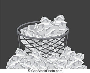 Garbage Overflow - Garbage can overflowing with paper trash...
