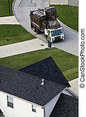 Garbage pick up - suburban district.