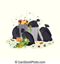 Garbage pile - black trash bags and metal bins full of dirty food waste