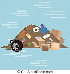 garbage pile waste product dirty vector cartoon illustration...
