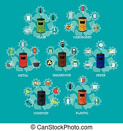 Garbage recycle bins concept vector illustration in flat style. Industrial waste recycling poster and icons